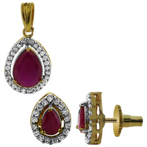 Gold Plated Simulated Ruby CZ Faceted Teardrop Shape Bollywood Indian Earrings Pendant Jewelry Set
