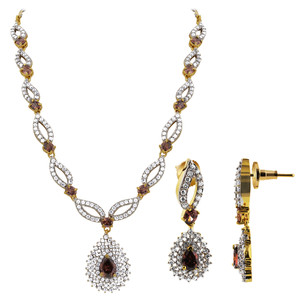 Lavender CZ Earrings Necklace Jewelry Set