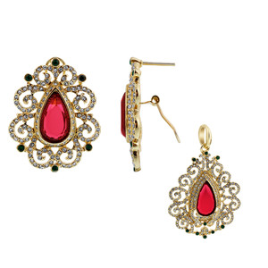Ruby Cubic Zirconia Earrings Pendant Set