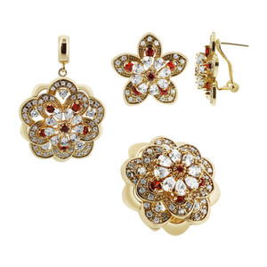 Gold Plated Floral Design with Clear and Red Glass Stones Earrings Pendant and Ring Set
