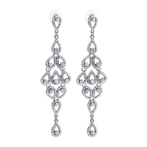 Silver Tone Teardrop with Clear Rhinestones Post Back Dangle Earrings #CCER030