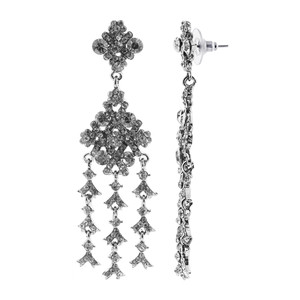 Silver Tone Light Black Rhinestones Post Back Chandelier Earrings