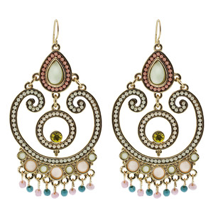 Gold Tone Ornamental Design Resin Beads and Glass Chandelier Earrings