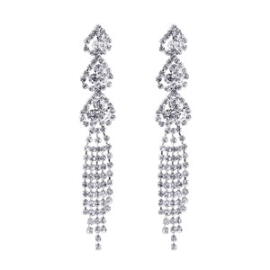 Silver Tone Rhinestones Post Back Chandelier Dangle Earrings