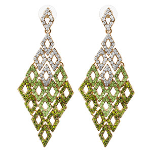 Gold Tone Diamond-Shape with Clear & Green Rhinestones Dangle Earrings