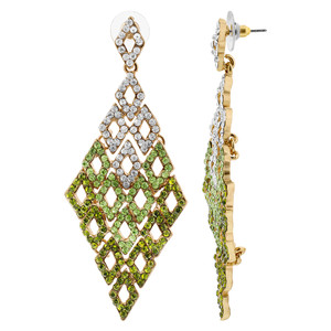Gold Tone Diamond-Shape with Clear and Green Rhinestones Post Back Dangle Earrings