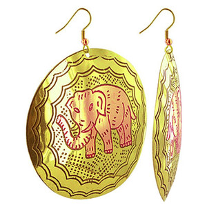 Elephant Drawing Engraved with Disk Fashion Drop Earrings