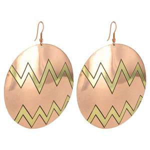 2.4 inch Round Zig - Zag Designer Fashion Drop Earrings with French Wire Findings
