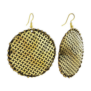 2.1 inch Round Gold Tone Basket Weave Design Fashion Dangle French Wire Earrings