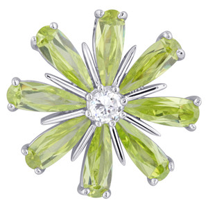 Sterling Silver Green and Clear Cubic Zirconia 20mm Flower Slide Pendant
