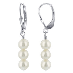 8mm White Freshwater Swarovski Pearl 925 Sterling Silver Drop Earrings