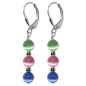 925 Sterling Silver Round Multicolor Cat Eye Leverback Dangle Earrings