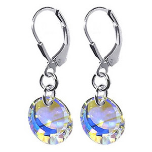 925 Sterling Silver Made with Swarovski Elements Clear AB Crystal Disc Handmade Drop Earrings