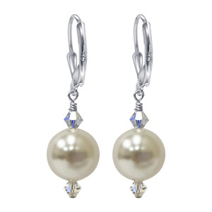 925 Sterling Silver Made with Swarovski Elements White Imitation Pearl Handmade Leverback Drop Earrings