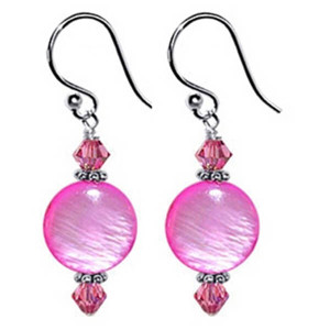 925 Sterling Silver 10mm Pink Mother of Pearl and Swarovski Elements Crystal Handmade Drop Earrings