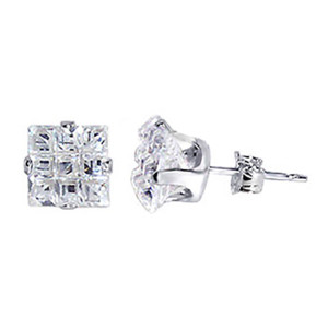 925 Sterling Silver Square Invisible Set Clear Cubic Zirconia Stud Earrings