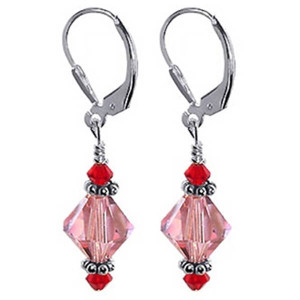925 Sterling Silver Made with Swarovski Elements Pink and Red Crystal Handmade Leverback Drop Earrings