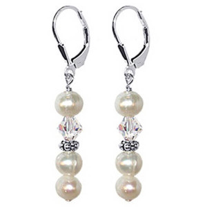 925 Sterling Silver Made with Swarovski Elements White Freshwater Pearl with Clear Crystal Handmade Dangle Earrings