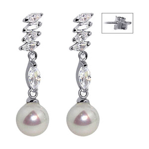 925 Sterling Silver Marquise Shape Cubic Zirconia & White Imitation Pearl Post Drop Earrings