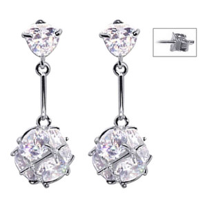 925 Sterling Silver Clear April Birthstone CZ Ball Post Back Drop Earrings