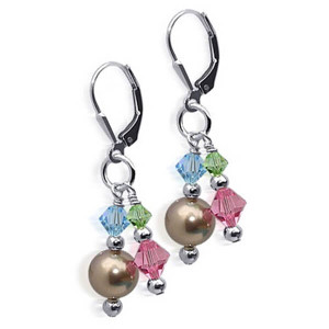Beautiful Dangle Earrings Made with Swarovski Elements Bronze Faux Pearl & Multicolor Crystal