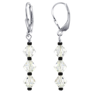 Sterling Silver Swarovski Elements Leverback Dangle Crystal Earrings