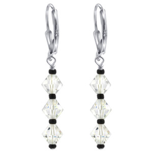 Sterling Silver Swarovski Elements Leverback Dangle Crystal Earrings #GAES030