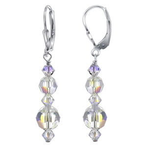 925 Sterling Silver Made with Swarovski Elements Clear Crystal Leverback Dangle Earrings