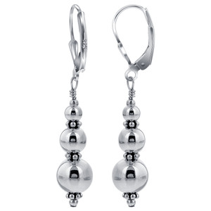 925 Sterling Silver Bali accents Triple Round Beads Handmade Leverback Dangle Earrings