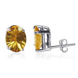 925 Sterling Silver 9 X 7mm Oval Citrine Color Post Back Stud Earrings