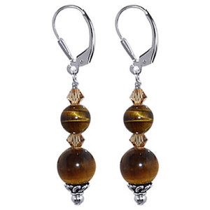 925 Sterling Silver Tiger Eye Gemstone Made with Swarovski Elements Smoked Topaz Color Crystal Leverback Dangle Earrings