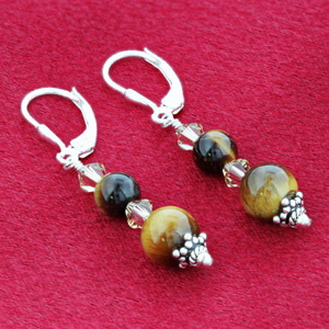 Brown Tiger Eye & Swarovski Crystal 925 Sterling Silver Dangle Earrings