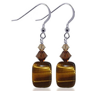 925 Sterling Silver Tiger Eye Gemstone Made with Swarovski Elements Brown Crystal Handmade Drop Earrings
