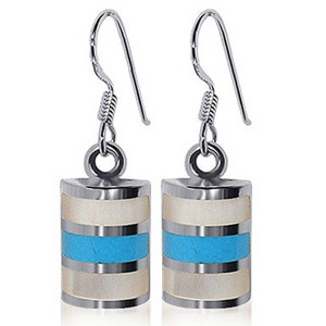 925 Sterling Silver Mother of pearl and Reconstituted Turquoise Inlay Drop Earrings