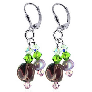 925 Sterling Silver Made with Swarovski Elements Freshwater Pearl and Green Pink Clear Crystal Handmade Leverback Dangle Earrings