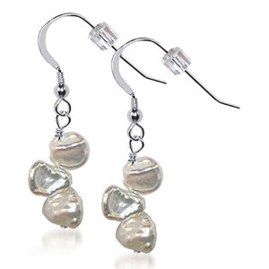 Sterling Silver Nugget Pearl Drop Earrings