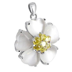 925 Sterling Silver Heart Simulated Pearl with Yellow Cubic Zirconia Pendant
