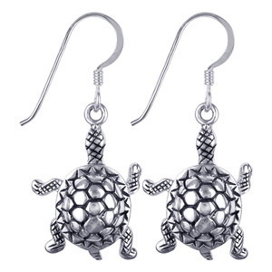 925 Sterling Silver Turtle French Hook Drop Earrings