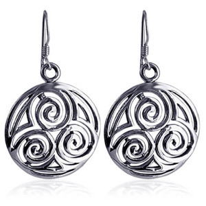 925 Sterling Silver Filigree Circle French Hook Drop Earrings