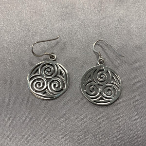 925 Sterling Silver Filigree Circle French Hook Drop Earrings #LWES008