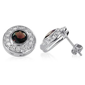 Garnet and Clear Topaz Gemstone Stud Earrings