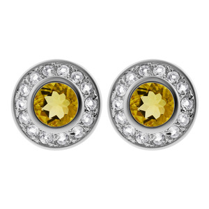 925 Sterling Silver Citrine November Birthstone & Clear Topaz Gemstone Post Back Stud Earrings