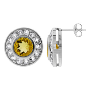 925 Sterling Silver Citrine & Clear Topaz Gemstone Post Back Stud Earrings