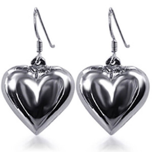 925 Sterling Silver Shimmering Heart French Wire Dangle Earrings