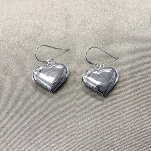 925 Sterling Silver Shimmering Heart French Wire Dangle Earrings #LWES030