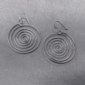 925 Sterling Silver Polished Finish Swirl French Wire Dangle Earrings #LWES034