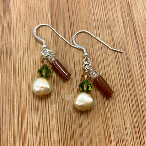 Silver Natural Gemstone Pearl Dangle Earrings