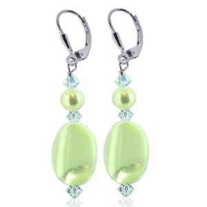 925 Sterling Silver Made with Swarovski Elements Mother of Pearl and Crystal Handmade Drop Earrings