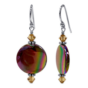 925 Silver Pearl and Yellow Crystal Drop Earrings