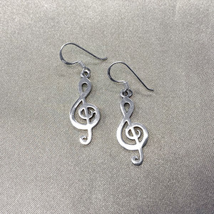 925 Sterling Silver Musical Note French Hook Dangle Earrings #LWES054